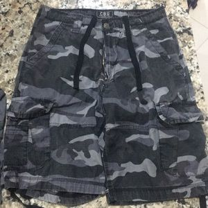 Men's Champs Cargo Shorts in Grey and Black Camo